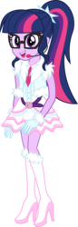 Size: 1772x5135 | Tagged: safe, artist:osipush, part of a set, sci-twi, twilight sparkle, equestria girls, absurd resolution, boots, clothes, commission, dress, female, glasses, gloves, headset, high heel boots, high heels, legs, looking at you, microphone, open mouth, ponytail, shoes, simple background, skirt, smiling, solo, transparent background, vector, winter outfit