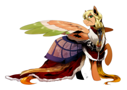 Size: 3507x2480 | Tagged: safe, artist:dormin-kanna, oc, oc only, oc:heart gold, pegasus, pony, cloak, clothes, coat, colored wings, large wings, long mane, looking at you, male, multicolored wings, simple background, smiling, solo, stallion, transparent background, wings
