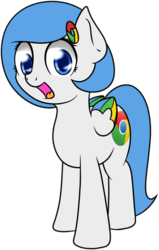 Size: 794x1247 | Tagged: safe, artist:10art1, derpibooru exclusive, oc, oc only, oc:google chrome, 2017 community collab, derpibooru community collaboration, browser ponies, cute, looking at you, open mouth, simple background, solo, transparent background