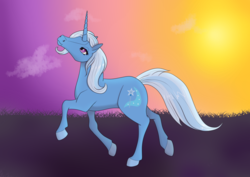 Size: 800x566 | Tagged: safe, artist:fia94, trixie, pony, unicorn, cloud, female, hoers, mare, solo, sun, sunset, trotting
