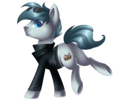 Size: 2530x2097 | Tagged: safe, artist:scarlet-spectrum, oc, oc only, oc:rhythm, earth pony, pony, blue eyes, clothes, commission, jacket, looking at you, male, raised leg, simple background, smiling, solo, stallion, sunglasses, transparent background, underhoof