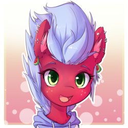Size: 700x700   Tagged: safe, artist:hoodie, oc, oc only, oc:melon frost, bust, clothes, commission, cute, ear fluff, ear piercing, hoodie, looking at you, open mouth, piercing, portrait, smiling, solo
