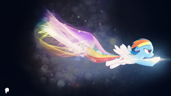 Size: 1920x1080 | Tagged: safe, artist:craftybrony, artist:illumnious, artist:wmill, rainbow dash, pegasus, pony, effects, female, flying, lens flare, mare, solo, vector, wallpaper