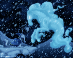 Size: 1024x816 | Tagged: safe, artist:inuhoshi-to-darkpen, star swirl the bearded, windigo, beard, bells, blizzard, cape, clothes, facial hair, glowing eyes, hat, leonine tail, looking at each other, patreon, snow, snowfall, unshorn fetlocks, wizard hat