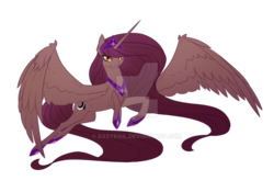 Size: 1024x716   Tagged: safe, artist:basykail, oc, oc only, oc:nox arcana, alicorn, pony, alicorn oc, colored pupils, female, flying, long mane, long tail, mare, simple background, smirk, solo, spread wings, transparent background, watermark