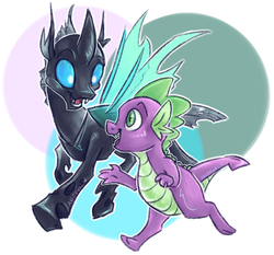 Size: 922x859   Tagged: safe, artist:anjevalart, spike, thorax, changeling, dragon, abstract background, fangs, horn, male, open mouth, running, smiling, wings