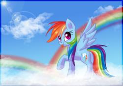 Size: 4653x3262 | Tagged: safe, artist:lyrakitty, rainbow dash, pegasus, pony, backwards cutie mark, cloud, cute, dashabetes, female, high res, lens flare, mare, on a cloud, rainbow, raised hoof, sky, solo, spread wings, sun, tongue out