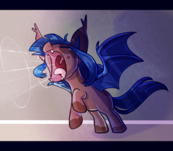 Size: 700x614 | Tagged: safe, artist:vampireselene13, oc, oc only, oc:eventide everlight, bat pony, pony, crying, ear tufts, eeee, eyes closed, fangs, female, filly, open mouth, raised hoof, rearing, screaming, screech, shout, skree, solo, spread wings, tongue out, uvula, wings