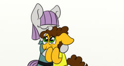 Size: 1366x728 | Tagged: artist:littleflaky, cheese sandwich, clothes, crack shipping, dress, eyes closed, floppy ears, hug, looking up, male, maud pie, maudwich, safe, shipping, simple background, smiling, straight, white background