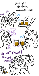 Size: 726x1401 | Tagged: safe, artist:jargon scott, starlight glimmer, trixie, human, pony, unicorn, angry, chocolate, chocolate milk, comic, cute, drinking, eyes closed, eyes on the prize, fancy mathematics, female, flailing, frown, geometry, glare, hand, happy, hat, hoof hold, hoofy-kicks, levitation, magic, mare, math, meme, milk, offscreen character, open mouth, partial color, party hat, smiling, tantrum, telekinesis, that pony sure does love equality, tongue out, tray, wide eyes, wow, wow! glimmer, yay
