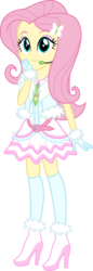Size: 1753x5072 | Tagged: safe, artist:osipush, fluttershy, equestria girls, absurd resolution, alternate costumes, boots, clothes, commission, cute, dress, eyeshadow, female, frilly dress, gloves, headset, high heel boots, high heels, kneesocks, looking at you, makeup, microphone, necktie, part of a set, shoes, shyabetes, simple background, skirt, smiling, socks, solo, transparent background, vector, winter outfit