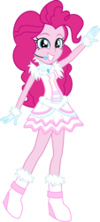 Size: 2292x5076 | Tagged: safe, artist:osipush, part of a set, pinkie pie, equestria girls, absurd resolution, boots, clothes, commission, dress, female, frilly dress, go-go boots, headset, high heel boots, microphone, simple background, smiling, solo, transparent background, vector, winter outfit