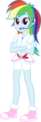 Size: 1745x5219 | Tagged: safe, artist:osipush, part of a set, rainbow dash, equestria girls, absurd resolution, clothes, commission, converse, crossed arms, cute, dashabetes, female, headset, legs, looking at you, microphone, open mouth, shoes, shorts, simple background, smiling, sneakers, solo, standing, transparent background, vector, winter outfit