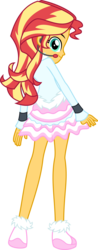 Size: 2003x5124 | Tagged: safe, artist:osipush, part of a set, sunset shimmer, equestria girls, absurd resolution, clothes, commission, cute, dress, female, frilly dress, headset, legs, looking at you, looking back, microphone, rear view, shimmerbetes, shoes, simple background, skirt, smiling, solo, transparent background, vector, winter outfit