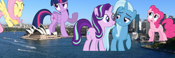 Size: 1920x640 | Tagged: safe, artist:logan859, fluttershy, pinkie pie, starlight glimmer, trixie, twilight sparkle, alicorn, pony, australia, counterparts, giant pony, irl, macro, magical trio, photo, ponies in real life, sydney, twilight sparkle (alicorn), twilight's counterparts