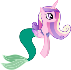 Size: 1501x1479 | Tagged: safe, artist:cloudyglow, princess cadance, mermaid, merpony, ariel, clothes, clothes swap, cosplay, costume, crossover, disney, mermaidized, open mouth, simple background, smiling, solo, the little mermaid, transparent background, vector