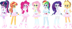 Size: 5052x2066 | Tagged: safe, artist:osipush, applejack, fluttershy, pinkie pie, rainbow dash, rarity, sci-twi, sunset shimmer, twilight sparkle, equestria girls, absurd resolution, boots, clothes, commission, crossover, cute, dress, frilly dress, headset, high heel boots, high heels, humane five, humane seven, humane six, looking at you, looking back, love live! school idol project, mane six, microphone, shoes, simple background, smiling, snow halation, transparent background, vector, winter outfit