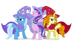 Size: 1920x1080 | Tagged: safe, artist:3d4d, artist:cloudyglow, artist:limedazzle, artist:sigmastarlight, artist:xebck, adagio dazzle, starlight glimmer, trixie, pony, equestria girls, accessory swap, bipedal, clothes, counterparts, equestria girls ponified, eyes closed, hat, open mouth, ponified, raised hoof, simple background, the great and powerful, trixie's cape, trixie's hat, twilight's counterparts, white background, wizard hat