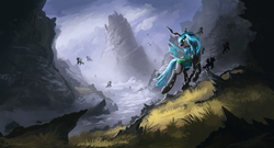 Size: 1850x1000 | Tagged: dead source, safe, artist:shamanguli, queen chrysalis, changeling, changeling queen, cloud, female, grass, open mouth, scenery, scenery porn, sky, water