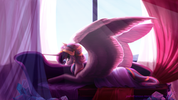 Size: 2560x1440 | Tagged: alicorn, artist:joellethenose, couch, crown, drapes, female, frown, jewelry, large wings, looking at you, mare, older, pony, princess flurry heart, prone, regalia, safe, solo, story included, subsurface scattering, sunlight, window, wings