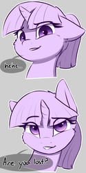 Size: 1200x2400 | Tagged: alternate hairstyle, artist:captainpudgemuffin, bust, cheek fluff, cute, dialogue, ear fluff, female, floppy ears, fluffy, gray background, grin, looking at you, lost, mare, partial color, pony, ponytail, portrait, raised eyebrow, reaction image, safe, self deprecation, simple background, smiling, smirk, solo, speech bubble, twiabetes, twilight sparkle, unicorn