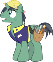 Size: 2409x2817 | Tagged: artist:pacificgreen, constructicorn, hard hat, hat, male, pencil, pony, public works pony, safe, simple background, solo, stallion, stubble, svg, .svg available, toolbelt, transparent background, unicorn, vector