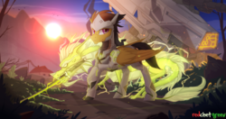 Size: 2500x1319 | Tagged: safe, artist:redchetgreen, dragon, pegasus, pony, armor, crossover, genji (overwatch), looking at you, male, overwatch, ponified, scenery, solo, stallion, sun, sword, weapon