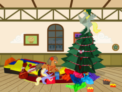 Size: 4751x3620 | Tagged: safe, artist:malte279, derpy hooves, dinky hooves, doctor whooves, time turner, parasprite, pegasus, pony, absurd resolution, christmas, christmas tree, derpy star, doctor who, female, hearth's warming, mare, origami, tardis, tree