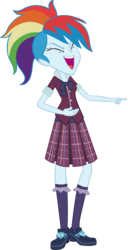 Size: 2059x4030 | Tagged: safe, artist:invisibleink, rainbow dash, equestria girls, friendship games, absurd resolution, clothes, crystal prep academy, crystal prep academy uniform, eyes closed, female, happy, laughing, mocking, pointing, school uniform, simple background, solo, transparent background