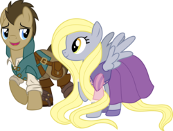 Size: 1501x1137 | Tagged: safe, artist:cloudyglow, derpy hooves, doctor whooves, time turner, pegasus, pony, alternate hairstyle, bag, blonde, boots, clothes, clothes swap, cosplay, costume, crossover, cute, disney, doctorbetes, doctorderpy, dress, female, flynn rider, long mane, male, mare, rapunzel, shipping, shirt, simple background, straight, tangled (disney), transparent background, vector
