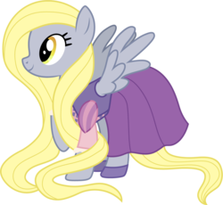 Size: 1001x919 | Tagged: safe, artist:cloudyglow, derpy hooves, pegasus, pony, alternate hairstyle, blonde, clothes, clothes swap, cosplay, costume, crossover, disney, dress, female, long mane, mare, raised hoof, rapunzel, simple background, smiling, solo, tangled (disney), transparent background, vector