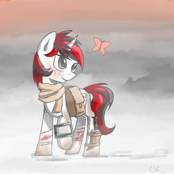 Size: 1000x1000 | Tagged: safe, artist:cerebralvapor, oc, oc only, oc:blackjack, butterfly, pony, unicorn, fallout equestria, fallout equestria: project horizons, bandage, cut, knife, pipbuck
