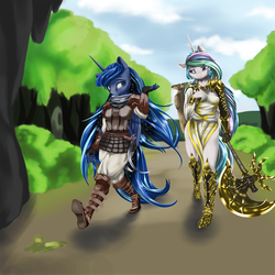 Size: 1000x1000 | Tagged: safe, artist:wookylee, princess celestia, princess luna, anthro, plantigrade anthro, armor, axe, backpack, clothes, forest, galaxy mane, royal sisters, sickle, tunic, weapon