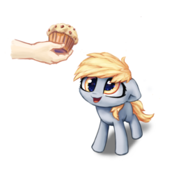 Size: 1731x1731 | Tagged: safe, artist:inowiseei, derpy hooves, human, cute, derpabetes, female, filly, food, hand, muffin, part of a set, simple background, white background, wingless, younger