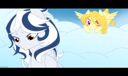 Size: 1280x768 | Tagged: safe, artist:basykail, oc, oc only, oc:light purity, oc:lugia, pegasus, pony, blushing, cloud, female, mare, sad