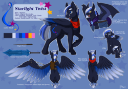 Size: 1100x763   Tagged: safe, artist:blueberrysnow, oc, oc only, oc:starlight twist, bat pony, pegasus, pony, adorable face, amputee, artificial wings, augmented, clothes, cute, cutie mark, female, filly, foal, mare, mechanical wing, missing limb, missing wing, prosthetic limb, prosthetic wing, prosthetics, reference sheet, scarf, scary face, stump, sword, weapon, wings
