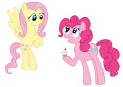 Size: 1777x1267 | Tagged: safe, artist:mlprocker123, fluttershy, pinkie pie, cupcake, flying, food, hoof hold, simple background, smiling, transparent background