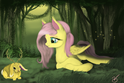 Size: 2383x1599 | Tagged: safe, artist:vinicius040598, fluttershy, firefly (insect), jackalope, forest, prone, solo