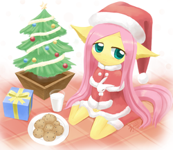 Size: 1385x1200 | Tagged: anthro, artist:howxu, christmas tree, cookie, cute, fluttershy, food, glass, hat, howxu is trying to murder us, plate, present, safe, santa hat, shyabetes, signature, smiling, solo, tree, weapons-grade cute