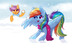 Size: 5338x3205 | Tagged: safe, artist:confetticakez, rainbow dash, scootaloo, absurd resolution, clothes, cute, cutealoo, dashabetes, duo, one eye closed, open mouth, playing, scarf, scootalove, smiling, snow, snowball, snowball fight, snowfall, winter