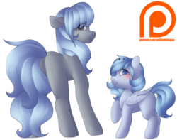 Size: 1024x806   Tagged: safe, artist:rue-willings, oc, oc only, oc:bubblepop, oc:rue, earth pony, pegasus, pony, duo, patreon, patreon logo, simple background, transparent background
