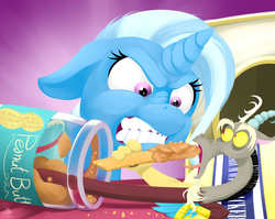 Size: 4900x3900 | Tagged: safe, artist:poecillia-gracilis19, discord, trixie, pony, unicorn, absurd resolution, angry, crackers, female, food, inconvenient discord, mare, micro, peanut butter, peanut butter crackers