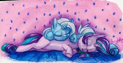 Size: 1088x567 | Tagged: safe, artist:theorderofalisikus, starlight glimmer, trixie, pony, unicorn, cute, diatrixes, eyes closed, female, glimmerbetes, lesbian, lying down, mare, open mouth, pony pillow, prone, shipping, sleeping, stars, startrix, traditional art, underhoof, watercolor painting