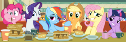 Size: 7200x2400 | Tagged: safe, artist:tomfraggle, applejack, buried lede, coco pommel, fluttershy, pinkie pie, plaid stripes, princess celestia, princess luna, rainbow dash, rarity, twilight sparkle, alicorn, pony, the saddle row review, absurd resolution, cake, cakelestia, clone, coffee, food, lidded eyes, mane six, pancakes, pinkie clone, ponk, smuglight sparkle, twilight sparkle (alicorn), vector, wavy mouth