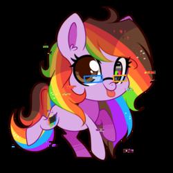 Size: 1000x1000 | Tagged: safe, artist:hikariviny, oc, oc only, oc:rainbow screen, glasses, multicolored hair, rainbow hair, solo