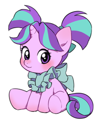 Size: 800x1000 | Tagged: safe, artist:bartolomeus_, starlight glimmer, pony, unicorn, blushing, bow, cute, female, filly, filly starlight glimmer, glimmerbetes, looking at you, pigtails, simple background, sitting, smiling, solo, underhoof, weapons-grade cute, white background