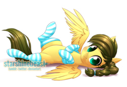 Size: 900x616 | Tagged: safe, artist:starshinebeast, oc, oc only, oc:nemsee, pegasus, pony, braid, clothes, female, looking at you, mare, on back, simple background, socks, solo, striped socks, transparent background
