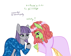 Size: 2000x1580 | Tagged: safe, artist:kerenitychan, boulder (pet), maud pie, tree hugger, earth pony, pony, clothes, dress, female, floral head wreath, flower, gala dress, lesbian, maudhugger, shipping, simple background, white background