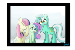 Size: 3000x2000 | Tagged: safe, artist:lyres-art, bon bon, lyra heartstrings, sweetie drops, oc, earth pony, pony, unicorn, adorabon, amused, bon bon is amused, cute, derp, eyes closed, facehoof, family, family photo, female, lesbian, looking at you, lyrabetes, lyrabon, magical lesbian spawn, offspring, parent:bon bon, parent:lyra heartstrings, parents:lyrabon, photo, shipping, silly, silly face, silly pony, smiling, tongue out