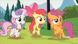 Size: 1920x1080 | Tagged: apple bloom, cutie mark crusaders, marks and recreation, messy, mud, muddy, safe, scootaloo, screencap, sweetie belle